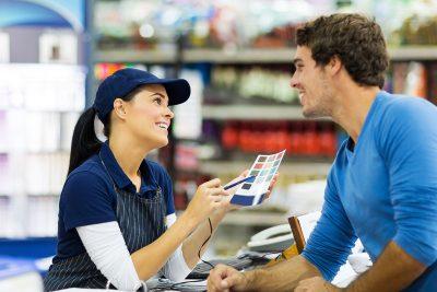 store clerk speaking to a customer